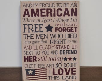 Proud To Be An AMERICAN- Americana Decor, 12x18 Rustic Wooden Sign, Patriotic Decoration, 4th of July Decoration, Memorial Day Decoration