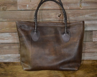 LARGE Genuine Italian Leather Tote Bag- SAVAGE BROWN- T-805