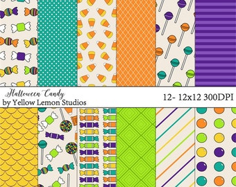 "Cute ""HALLOWEEN CANDY"" holiday, candy corn, trick or treating, purple, orange, yellow, green, treat, goodies, lollipop, gumball, pattern"