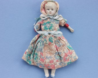 Antique Bisque Doll - Porcelain Doll with Soft Body - Signed Foreign