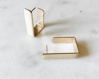 1980's Dead Stock Vintage Cream Ivory Enamel Gold Rectangle Hoop Earrings