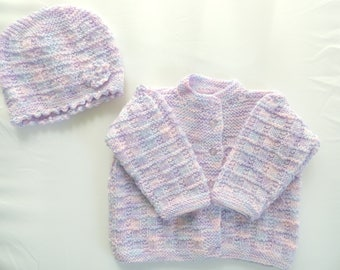 baby jacket and hat set. knitted baby clothing. blue, lavender white baby jacket and hat set. Baby cardigan and hat set. Baby girl.
