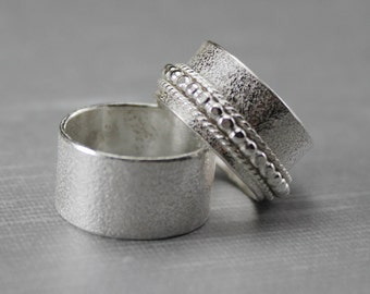 Silver Wedding Band Set - Wedding Bands - Spinner Ring Set - His and Hers Rings