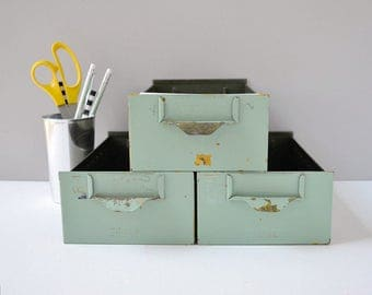 Vintage industrial metal storage bins; metal storage drawers; metal card file; card file drawers