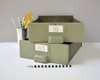Industrial metal bins; in out boxes; paper sorter; file sorter; metal drawers; metal bins; paper organizer; letter trays