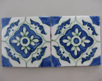 15-T15 6x6 Decorative Talavera Tile in Blue/Green (Shipping Included)