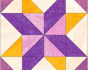 Star Puzzle 15 Inch Block Paper Template Quilting Block Pattern PDF