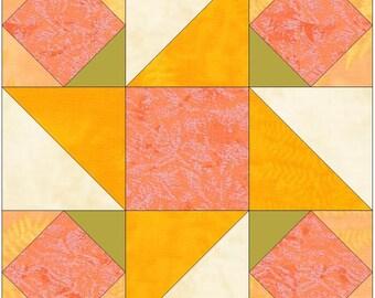 Peach Cobbler Star 15 Inch Block Paper Template Quilting Block Pattern PDF