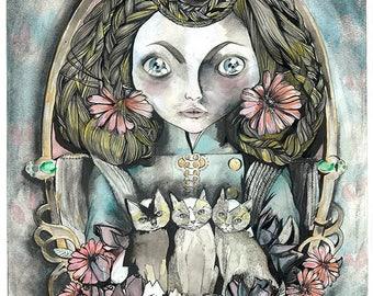 Kittens art print A3