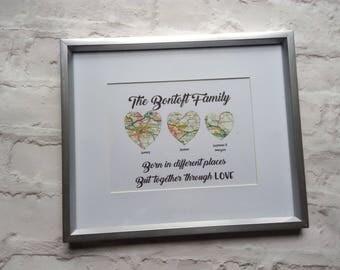 Custom Map Art - Map Art - Personalised Map - Heart Map  - Wedding Gift - Anniversary Gift - Personalised Gift - Map Print - Home Decor
