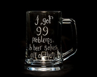Personalised Glass Mug, Engraved Glass Tankard, Custom Engraved Beer Jug, Real Ale Glass, Birthday Gifts for Dad, Fathers Day Gifts