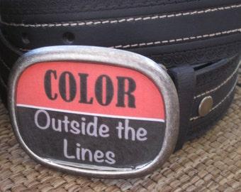 belt buckle silver bohemian belt buckle women's belt buckle mens belt buckle resin belt buckle Color outside the lines interchangeable