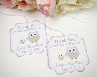 owl baby shower favor tags purple baby shower tags girl baby shower thank you tag thank you for celebrating tag baby shower gift tag
