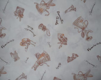 "Half Yard of Yuwa Live Life Collection Victorian Fashion Fabric on Cream Background. Approx. 18"" x 44"" Made in Japan."""