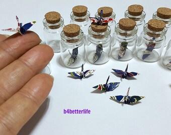 Lot Of 12pcs 1-inch Hand-folded Batik Design Paper Crane In Mini Glass Bottle With Cork. (WR paper series). #CIB12e.
