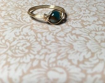 Golden Aqua quartz ring