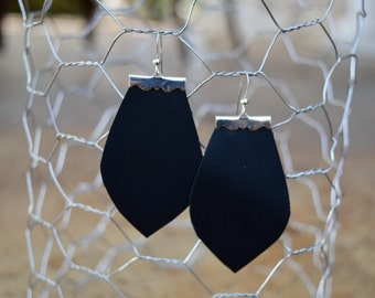 Paige Earrings in Black Matte and Silver