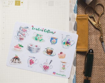Afternoon tea lover set - decorative watercolour planner stickers suitable for any planner -452-