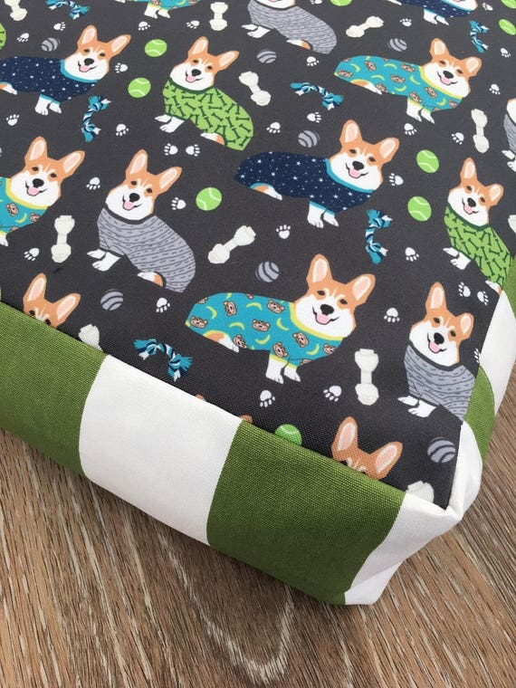 Corgis in PJ's Dog Bed with insert  -  Corgi in Pjamas print - MEDIUM