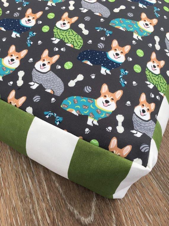 Corgis in PJ's Dog Bed with insert  -  Corgi in Pjamas print - MEDIUM