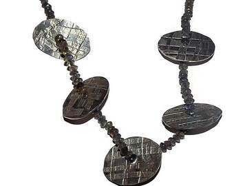 labradorite and pewter disc handmade necklace