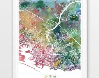 Vintage Map Of Genoa Italy X Print Poster - Italy map genoa