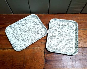 Boltabest Babylonia Trays Small Pair Abel Sorenson Gray and White Vintage Airline Trays Condiment Trays Tiki Room Style Rare