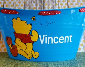 Personalized Oval Easter Tub, Toy Storage Basket with Pooh Bear