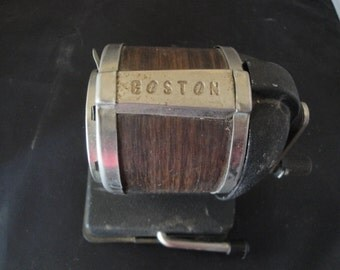 Vintage Boston Standard Pencil Sharpener Vacuum Desk , 8 Holes Chrome Black With Brown