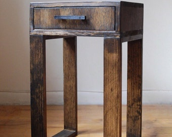 Reclaimed Wood Thin Nightstand, Side Table, End Table with Drawer and black wooden handle - Dark Walnut