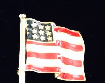 On Sale Vintage Patriotic Enamal Flag Pin