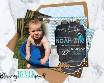 Milk and Cookie Monster Birthday Party Invitation with Photograph