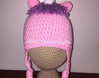 Pink Unicorn Crochet Rainbow Earflap Hat Photo Prop