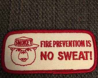 Vintage Smokey the Bear Patch - fire prevention no sweat only you can prevent forest fires national parks ranger