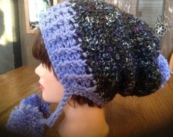 Slouchy Crochet, Beanie, Pom Pom, Winter Ski Hat