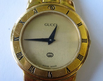 Authentic Vintage  GUCCI 3300L Gold Plated Swiss Made Quartz Watch for Women