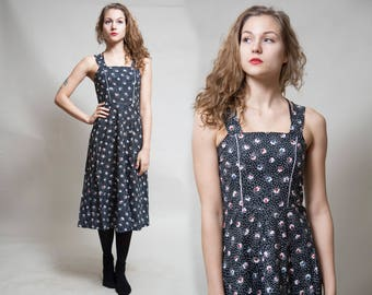 Black Sleeveless Polk-a-dot Dress/ Slim Fit Dress/ Floral Print Pinafore Dress/ 90s Dress/ Gunne Sax Style • Size Extra Small to Small •