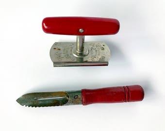 """Vintage """"Edlund Co., Inc """"Top Off Jar & Bottle Opener"""" (Red Handle) and Vintage Red Handled Peeler"""