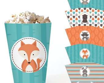 Woodland Popcorn Boxes - Printable Table Decor - Party Favor Boxes - Birthday and Baby Shower Treat Boxes - DIY Party Decorations -  PDF