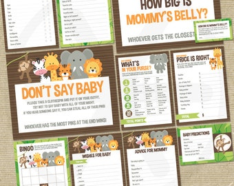 Safari Baby Shower Games Package - Printable Game Cards - Funny Baby Games - Gender Neutral Jungle Theme Baby Shower Activities