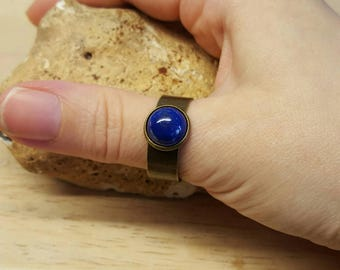 Men's Lapis Lazuli ring. Reiki jewelry uk. September birthstone. Blue gemstone Adjustable ring