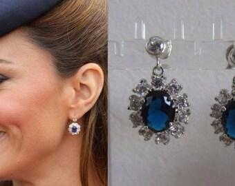 Kate Middleton Duchess Cambridge Inspired Replikate Sapphire Blue Oval Crystal Drop Earrings