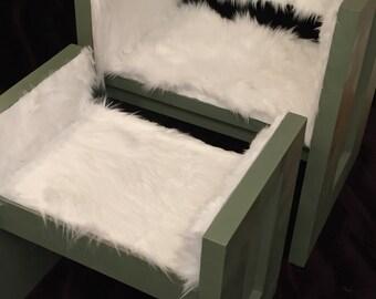Custom Sage Green Faux Fur Chair & Ottoman