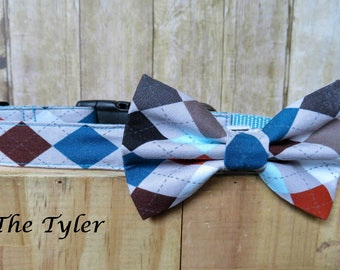 Preppy Argyle – The Tyler Bow Tie Dog Collar Set