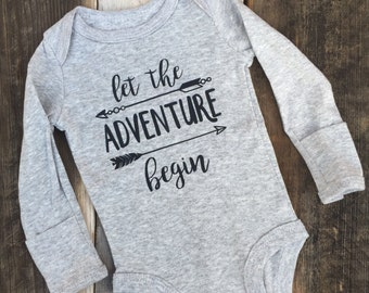 "Gray ""Let the Adventure Begin"" Baby bodysuit, New Dad, New Mom, New Baby, Baby Shower Gift for the Adventrue loving family"