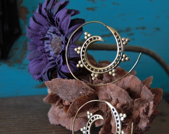 Tribal brass hoops