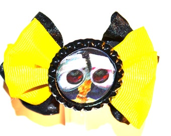 Wall E Yellow and Black Hair Bow