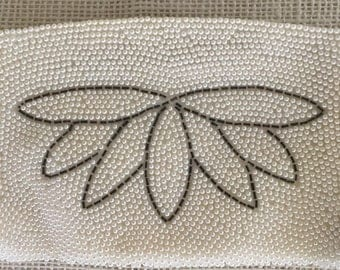 Vintage Made In Japan Beaded Evening White with Gray Lotus Zippered Purse