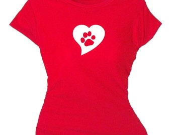 I Heart Pets Paw Print T Shirt New Pet Parent Gift For Someone Who Loves Pets Funny Paw Print Tee Shirt Plus Sizes Available