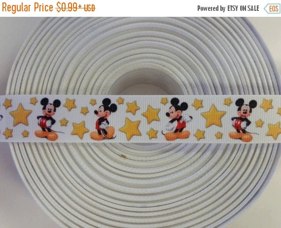 "SUPER SALE MOUSE Stars Inspired 7/8"" 22mm Grosgrain Hair Bow Craft Ribbon 782202"